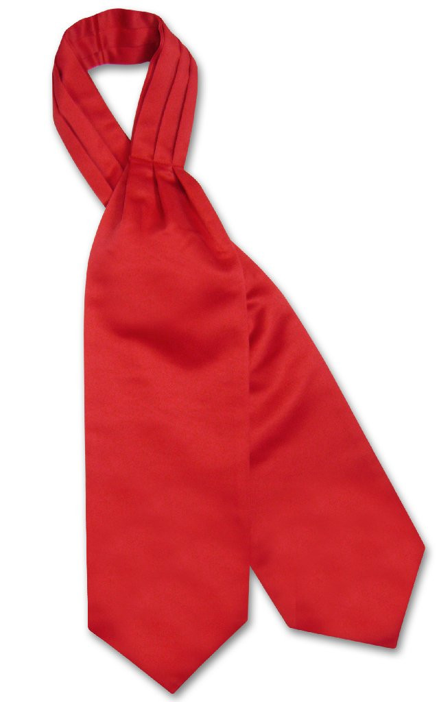 Vesuvio Napoli ASCOT Solid RED Color Cravat Men's Neck Tie