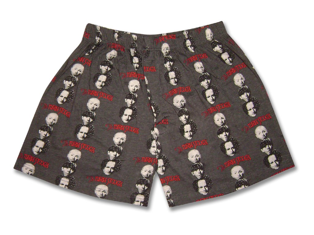 Men's The THREE 3 STOOGES Stacked BOXER 100% Cotton Shorts