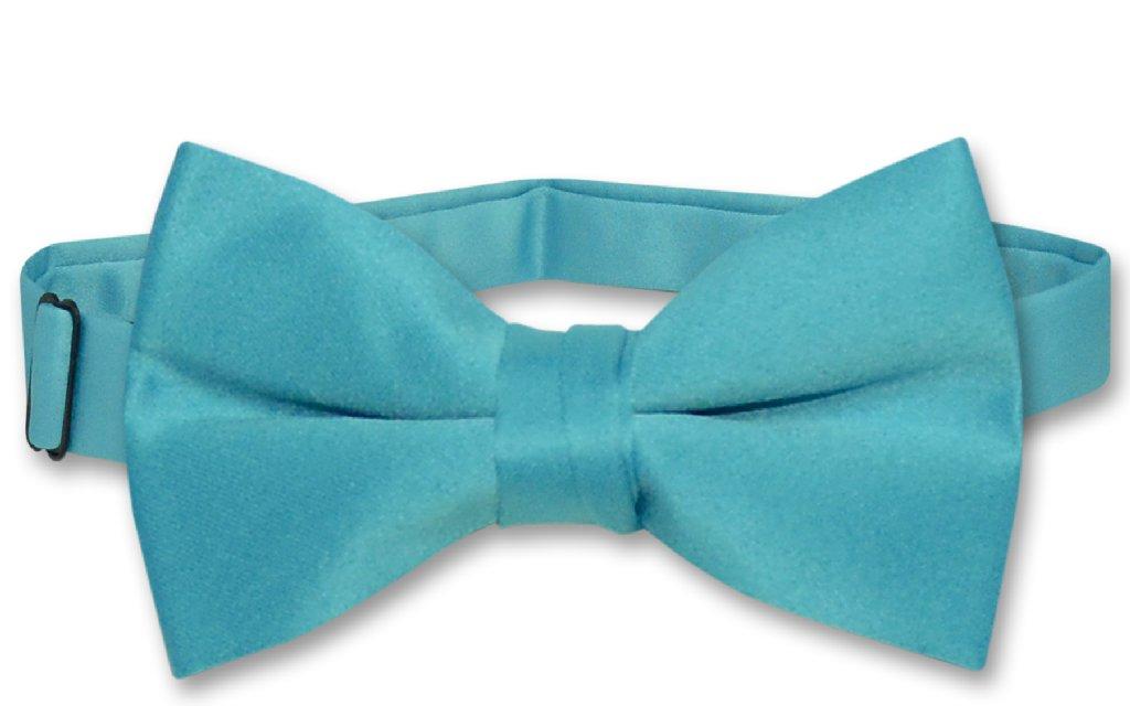 Vesuvio Napoli BOY'S BOWTIE Solid TURQUOISE BLUE Color Youth Bow Tie