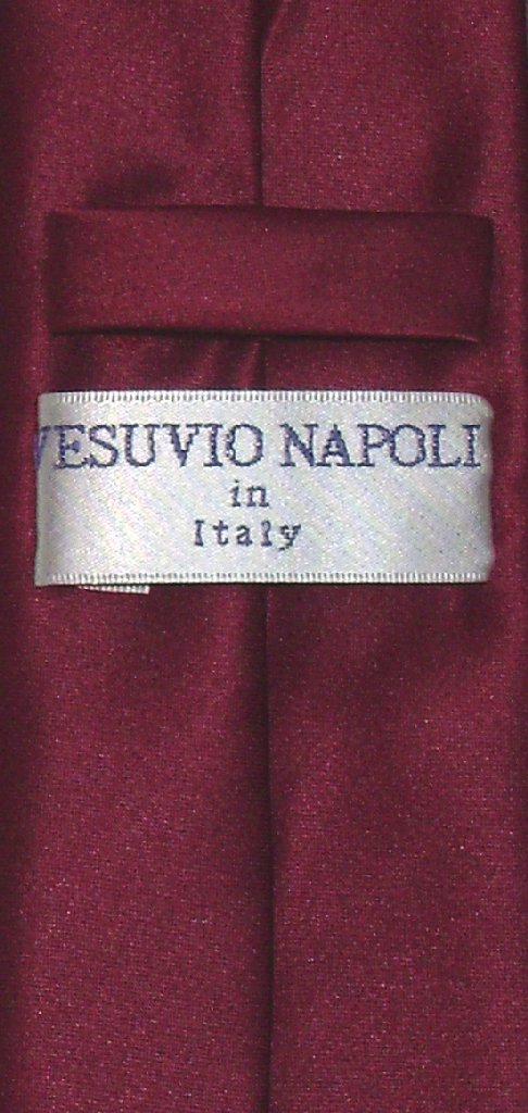 """Vesuvio Napoli Narrow NeckTie Skinny BURGUNDY Color Men's Thin 2.5"""" Neck Tie"""