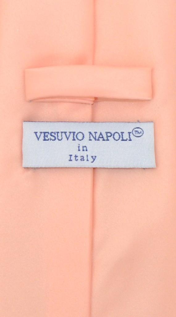 Vesuvio Napoli Solid PEACH Color NeckTie & Handkerchief Men's Neck Tie Set