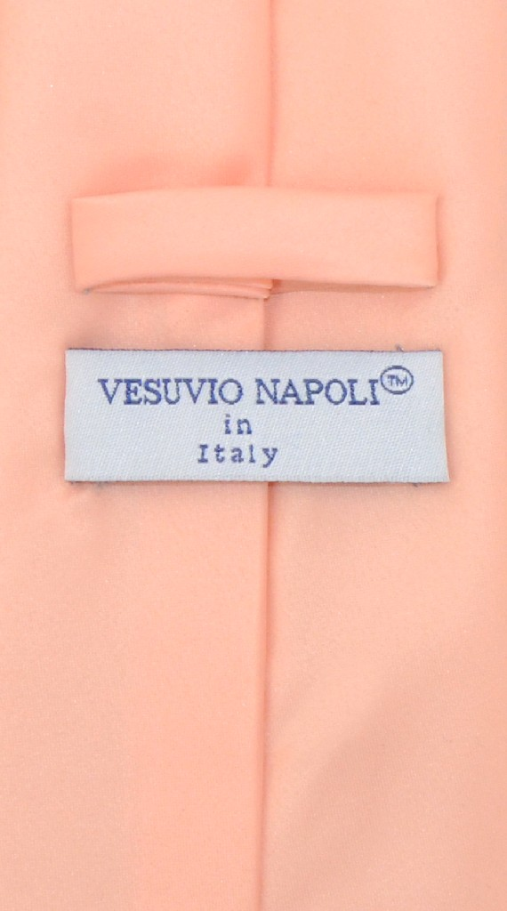 Vesuvio Napoli Solid PEACH Color NeckTie & Handkerchief Men's Neck Tie Set