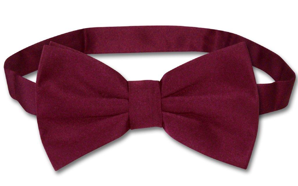 Vesuvio Napoli BOWTIE Solid BURGUNDY Color Men's Bow Tie for Tuxedo or Suit