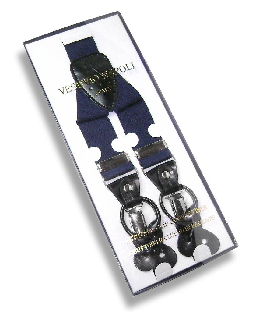 Men's Solid NAVY BLUE SUSPENDERS Y Shape Back Elastic Button & Clip Convertible
