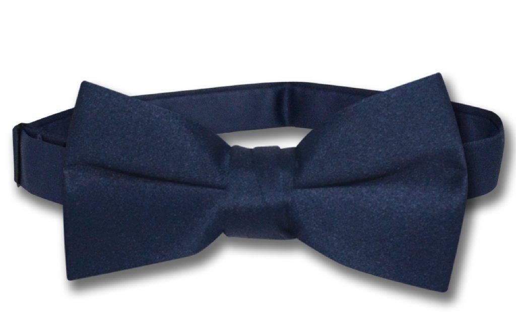 Vesuvio Napoli BOY'S BOWTIE Solid NAVY BLUE Color Youth Bow Tie