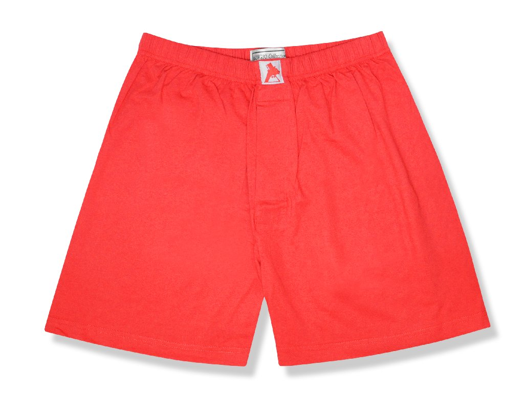 Biagio Men's Solid RED Color BOXER 100% Knit Cotton Shorts
