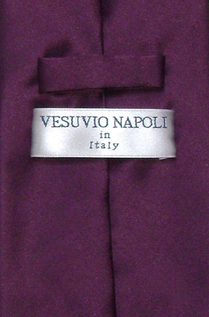 Vesuvio Napoli NeckTie Solid EGGPLANT PURPLE Color Men's Neck Tie