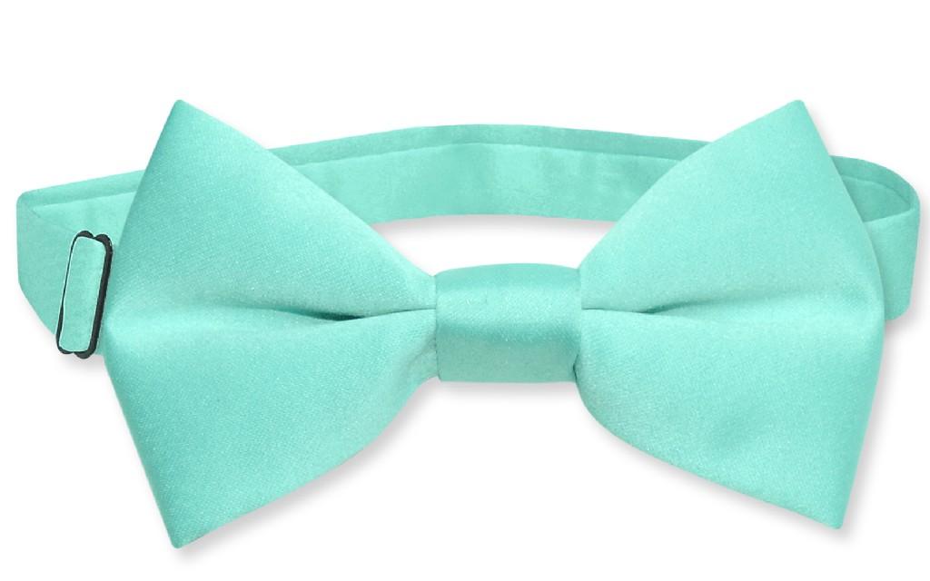 Vesuvio Napoli BOY'S BOWTIE Solid AQUA GREEN Color Youth Bow Tie