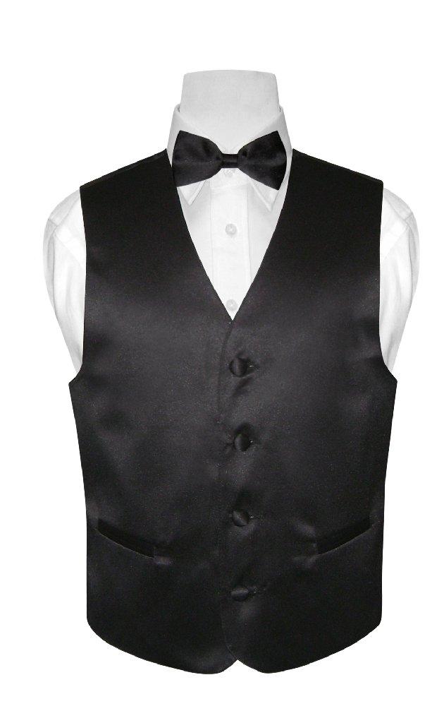 BOY'S Dress Vest & BOW TIE Solid BLACK Color Bow Tie Set
