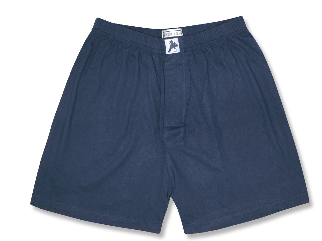 Biagio Men's Solid NAVY BLUE Color BOXER 100% Knit Cotton Shorts