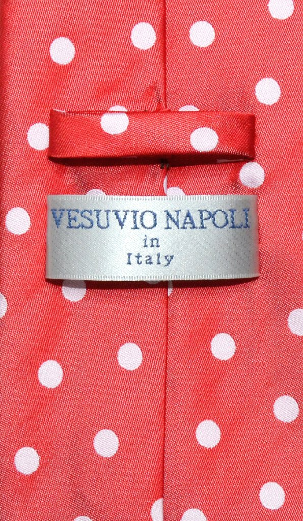 Vesuvio Napoli NeckTie RED w/ WHITE Polka Dots Design Men's Neck Tie