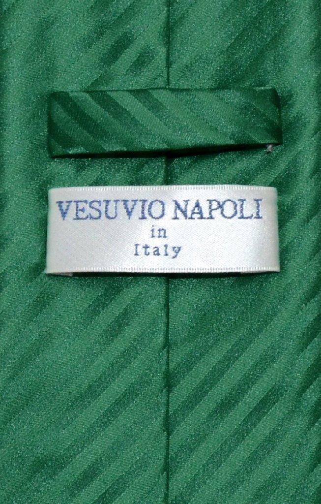 Vesuvio Napoli NeckTie EMERALD GREEN Vertical Stripes Design Men's Neck Tie