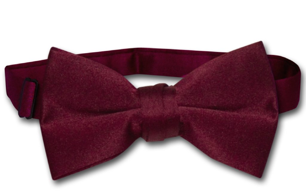 Vesuvio Napoli BOY'S BOWTIE Solid BURGUNDY Color Youth Bow Tie