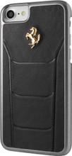 Hard-case, Ferrari 488 for iPhone 7, Genuine Leather, Black.