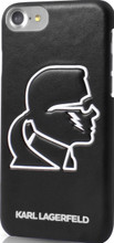 """Hard-case, Karl Lagerfeld """"K-PUNK GLOW IN THE DARK"""" Collection for iPhone 7, PU leather, Black."""