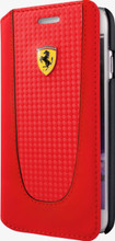 """Booktype, Ferrari """"PIT STOP"""" Collection for iPhone 7, Carbon Fiber, Red."""