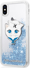 Karl Lagerfeld , Case for iPhone X, Transparent ,  Sailor Choupete, Accessories, Liquid Glitter - Blue