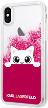 "Karl Lagerfeld , Case for iPhone X, Transparent collection ""Peek a Boo"", Accessories, Liquid Glitter - Fuschia"