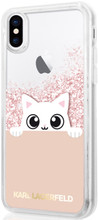 """Karl Lagerfeld , Case for iPhone X, Transparent collection """"Peek a Boo"""", Accessories, Liquid Glitter - Pink Gold"""