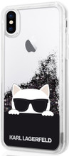 Karl Lagerfeld , Case for iPhone X, Transparent, Choupette with Sunglasses, Accessories, Liquid Glitter - Black