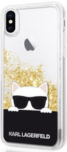 Karl Lagerfeld , Case for iPhone X, Transparent, Choupette with Sunglasses, Accessories, Liquid Glitter - Gold
