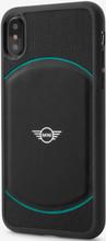 Mini, ( Mini Cooper ), Case for iPhone X,  Hybrid Case , Debossed Circle , Leather - Black/Aqua