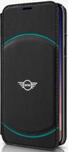Mini, ( Mini Cooper), Book-Case for iPhone X,  Hybrid Case , Debossed Circle , Leather - Black/Aqua