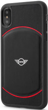 Mini, (Mini Cooper), Case for iPhone X,  Hybrid Case , Debossed Circle , Leather - Black/Red
