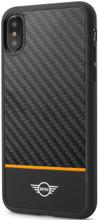Mini, (Mini Cooper),  Case for iPhone X, Real Carbon Fiber & leather - Orange Stripe