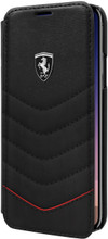 """Ferrari , Book-Case for iPhone 8 ( New iPhone 2017 ), collection """"HERITAGE"""" , Genuine leather , Quilted - Black"""