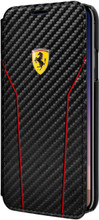 Ferrari , Book-case for iPhone 8 (New iPhone 8 ) ,  leather with contrasted stitchings - Black Carbon - front