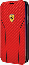 Ferrari , Book-case for iPhone 8 (New iPhone 8 ) ,  leather with contrasted stitchings - Red Carbon - front