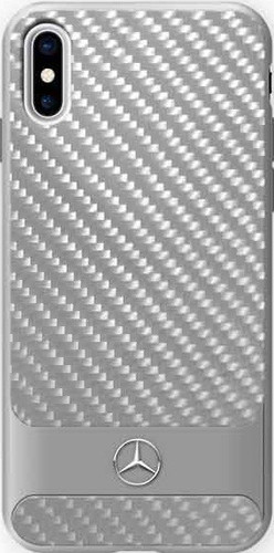 "Mercedes, Case for iPhone X, Collection ""DYNAMIC"" , Real Carbon fiber Case & Aluminium stripe - Silver"