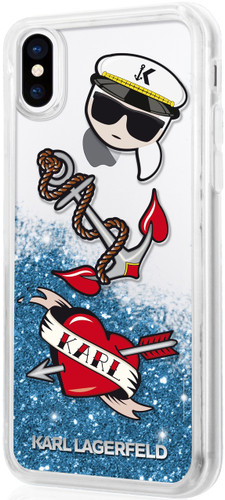Karl Lagerfeld, Case for iPhone X, Captain Karl, Transparent , Accessories, Liquid Glitter - Blue