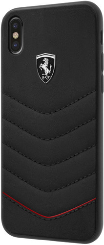 """Ferrari , Case for iPhone 8 ( New iPhone 2017 ), collection """"HERITAGE"""" , Genuine leather , Quilted - Black"""