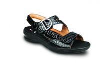 Revere Women's Barcelona Black Croc Sandal
