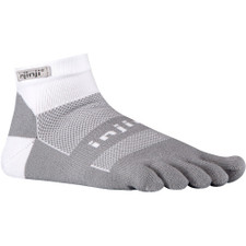 Injinji Run 2.0 Midweight Mini-Crew Socks White/Grey