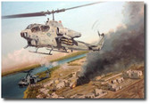 Wally's Ride by Joe Kline - AH-1W Cobra and UH-1N Helicopters Aviation Art