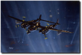 Night Lights by Don Feight - P-38M Night Lightning Aviation Art
