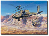 Clearing the Path by Rick Herter - AH-64 Apache Longbow, CH-47 Chinook  Aviation Art