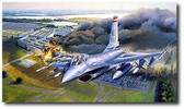 First Pass, Defenders Over Washington by Rick Herter - General Dynamics F-16 Fighting Falcon Aviation Art