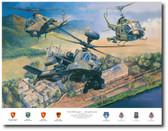 First With Guns by Rick Herter - Huey UH-1B, AH-1 Cobra , Boeing Apache Longbow Aviation Art