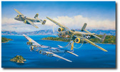 Heritage Flight by Rick Herter - B-25 Mitchell and the B-17 Flying Fortress  Aviation Art