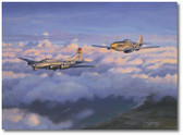 Eager Beaver by Jim Laurier -  B-17 bomber , P-51 Mustang - Aviation Art
