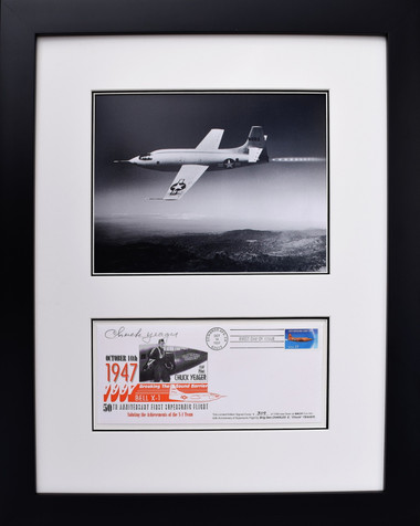 """Bell X-1 Breaking the Sound Barrier w/ """"Signed"""" Envelope Aviation Art"""