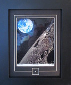 Earth and Moon Photo with Moon Specimen