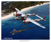 P-38 Lighting - Battle Axe by Mark Karvon - Lockheed P-38 Lightning  Aviation Art