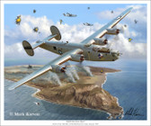 Hell Over Iwo Jima by Mark Karvon - B-24 Liberator   Aviation Art