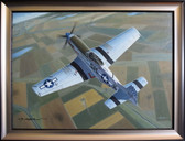 Photo Finish - Original Oil on Canvas - by Mike Machat - P-51 Mustang Aviation Art