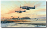 Home At Dusk by Robert Taylor - P-51 Mustangs  Aviation Art